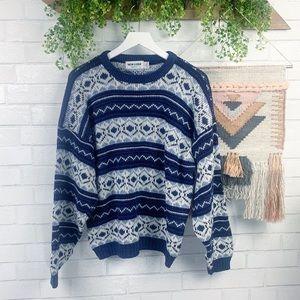 Vintage 90's Blue Boho Dad Sweater SZ L